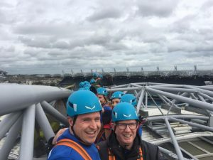 Paddy Kevans and Michael Hegarty Reddy Charltonictured before their abseil adventure.